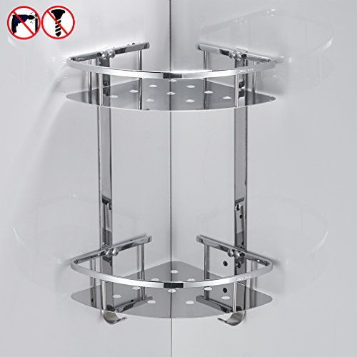 Caddy Mount (BESy Shower Corner Caddy Bathroom Shelf Floating , No Drilling with Glue or Wall Mounted with Screws,Heavy Duty and SUS304 Stainless Steel 2 tiers Storage Shelves Triangle Basket with Hooks,Chrome)