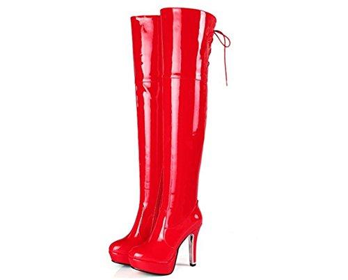 Stiefel Nachtclub Stiefel Neue Heel Party Winter Mode Herbst Reißverschluss Oberschenkel Rot Overknee Langer Schwarz Lackleder Seitlicher Damen High qUxETwSI