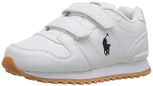 Polo Ralph Lauren Kids Baby Oryion EZ Sneaker, White Tumbled Navy pop, M085 M US - Tumbled White Leather Footwear