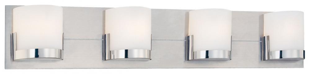 durable modeling George Kovacs P5954-077, Convex, 4 Light Bath Fixture, Brushed Aluminum Backplate / Chrome Glass Holders