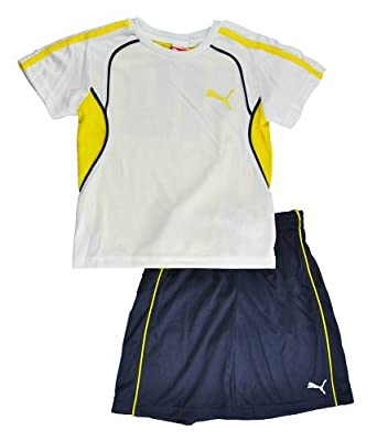 Puma Toddler Boys S/S White, Yellow & Navy Blue Top 2pc Short Set (3T)