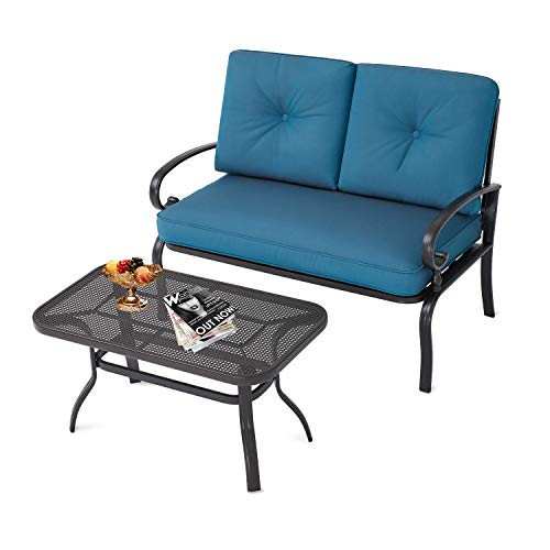 Oakmont Outdoor Furniture 2- Piece LoveSeat with Coffee Table Patio Bistro Set Peacock Blue Cushion for Lawn Front Porch Garden Yard or Poolside