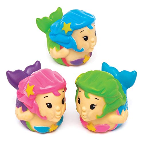 Baker Ross Mermaid Water Bath Squirters (Pack of 4) Assorted Floating Rubber Characters Ideal for Baby Bath Toys or Water Toys