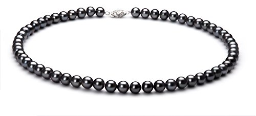 PearlsOnly - Black 6-7mm AA Quality Freshwater 925 Sterling Silver Cultured Pearl Set-16 in Chocker length by PearlsOnly (Image #1)