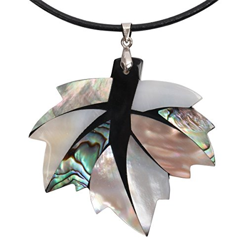 Hiddleston 925 Sterling Silver Abalone Shell Maple Leaf Necklace Jewelry Women Girl Black Leather 18+2 (Grey)
