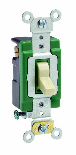 mp, 120/277 Volt, Toggle 3-Way AC Quiet Switch, Extra Heavy Duty Spec Grade, Self Grounding, Back and Side Wired, Ivory ()