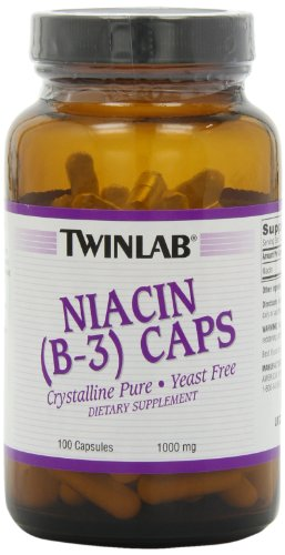 Nervous System Tonic Compound - Twinlab Niacin (B-3) 1000mg, 100 Capsules (Pack of 3)