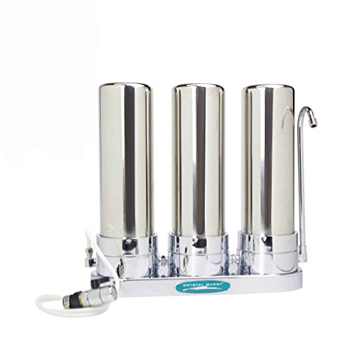 CRYSTAL QUEST Countertop Replaceable Triple Multi PLUS Water Filter System (Stainless Steel) by Crystal Quest
