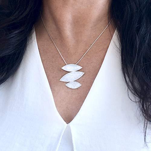 - Sterling Silver 925 Womens Handmade Layered Asymmetrical Leaf Pendant Necklace, Boho Geometric Design, Diamond Cut Brushed finish, Chain 17.5