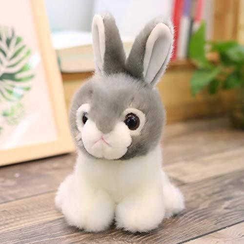 GOOGEE Plush Animals - Rabbit Plush Toy Stuffed Soft Doll Cute Simulation Plush Rabbit Baby Kids Birthday Gift - 10 Inch Gray - White Zoo Rug Huge Red Easter Chair ()