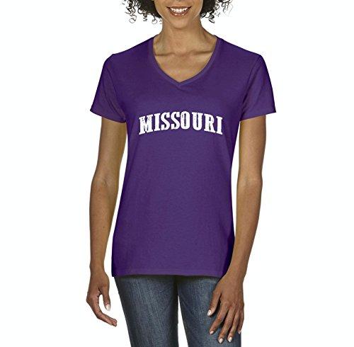 Ugo MO Missouri Flag Jefferson Kansas Map Tigers Home University of Missouri Women's V-Neck T-Shirt Tee Clothes