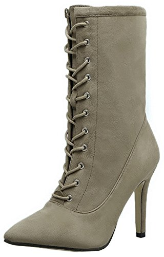Easemax Women's Sweet Pointed Toe High Stiletto Heeled Ankle High Boots With Side Zipper Khaki qRiSDs