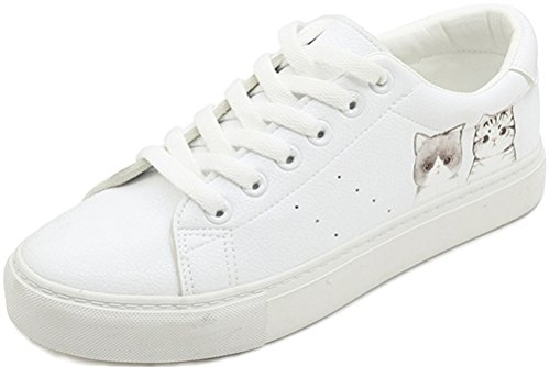 SATUKI Fashion Sneakers For Women,Pleather Lace Up Casual Flat Comfortable White Sports Shoes C