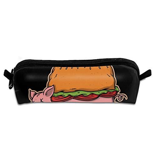 Cheeseburger Pork Pencil Box Cases Pen Stationery Cosmetic Makeup Bags Toiletries Power Lines Travel Storage - Pork Burgers