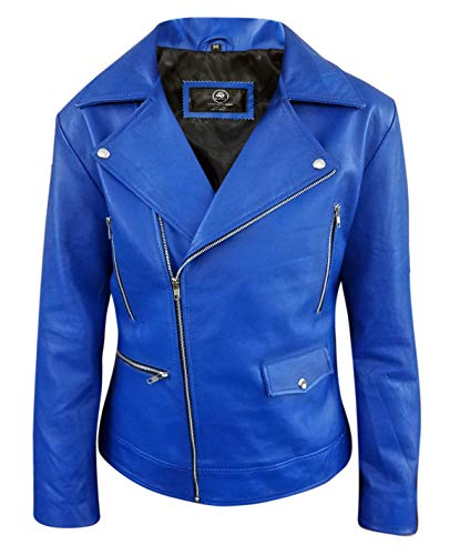 Mens Blue Leather Jacket Biker Classic Motorbike Motorcycle for sale  Delivered anywhere in USA