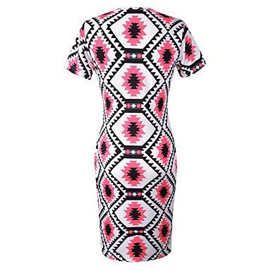 PU&PU Robe Aux femmes Gaine simple / Chic de Rue,Géométrique Col Arrondi Au dessus du genou Coton / Spandex , red , m