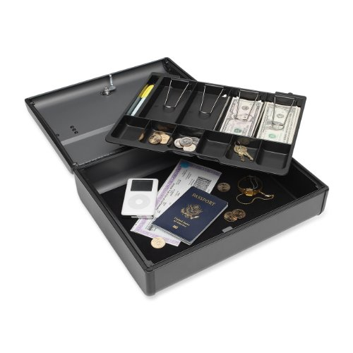MMF Industries Steelmaster Elite Security Case with Keyed Lock, 4.125 x 11.75 x 14.75 Inches, Charcoal Gray (2217020G2)