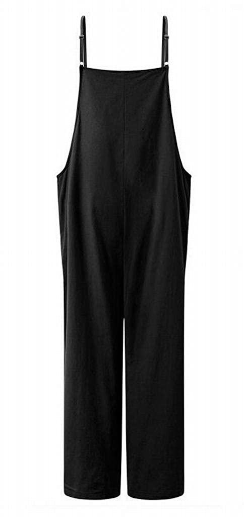 ARTFFEL Women Casual Plus Size Loose Bib Pure Color Wide Leg Overalls Jumpsuit Romper