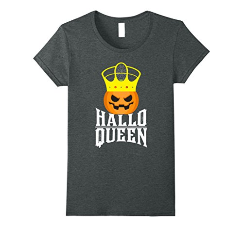 Womens HalloQueen Funny Halloween Costume Pumpkin Queen Pun T-Shirt XL Dark Heather