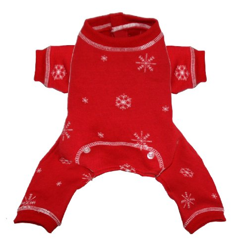 Hip Doggie Red Snowflake Longjohns, Small, My Pet Supplies