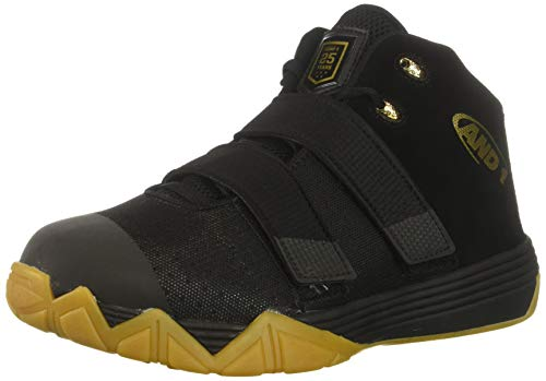 AND 1 Men's Chosen One II Sneaker, Black/Metallic Gold/Gum, 11 Medium US