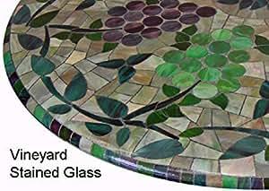 """Mosaico mantel redondo 36""""a 48"""" borde elástico ajustable vinilo funda para mesa viñedo de vidriera con patrón marrón púrpura verde"""