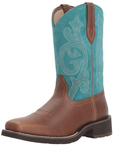(Ariat Women's PRIM ROSE Boot, pebbled brown/turquoise, 6.5 C US)