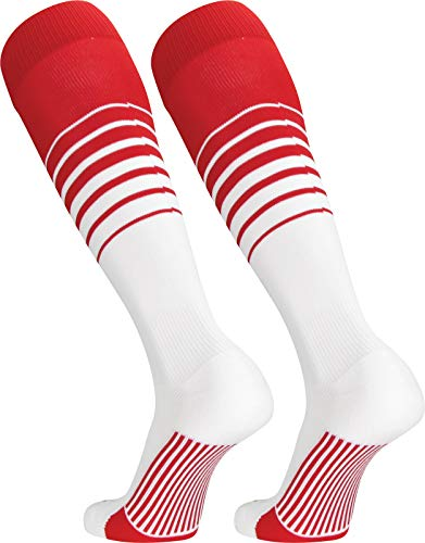 TCK Sports Elite Breaker Soccer Socks (Scarlet/White, Small)