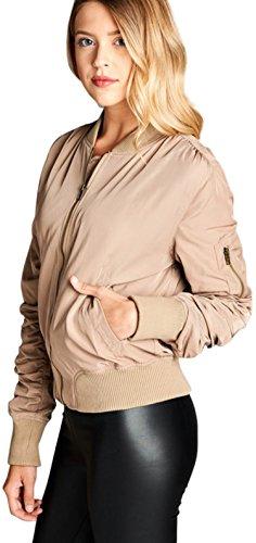 ToBeInStyle Women's Poly Shirring Sleeve Bomber Jacket - Khaki - Large