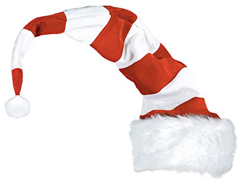Amscan Fun-Filled Christmas and Holiday Party Striped Bend To Shape Santa Hat (1 Piece), Red/White, 32