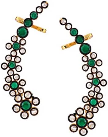 The Jewelbox Ethnic Traditional Bollywood Floral Delight 18K Emerald Green Polki Ear Cuff Pair