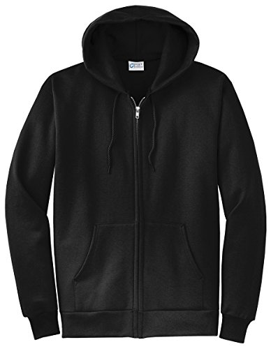 Port & Company Men's Classic Full Zip Hooded Sweatshirt L Jet Black from Port & Company
