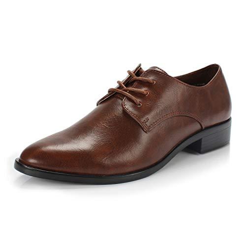 FOOTSELF DUNION Bonita Women's Classic Comfortable Brogue Low Heels Casual Oxford Daily Shoe,Bonita Brown,10 M - Womens Brown Shoes Oxfords