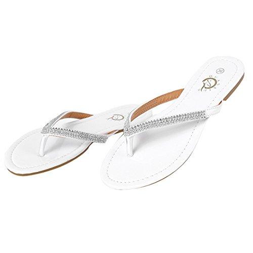 Vertvie Damen Sommer Camouflage Flip Flops Schuhe Sandalen Slipper Indoor Outdoor Zehentrenner mit Strass Weiß
