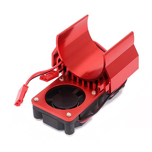 RCAWD Heat Sink Heatsink Motor N10108 540/545/550 Size 2 Fans Cooling Head Vent Top JST Alloy Aluminum 1/10 RC Hobby Model Car HSP HPI Wltoys Himoto Tamiya 1Pcs(Red) (Head Heatsink Aluminum Cooling)