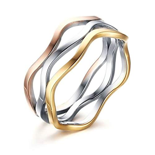 Aokarry Women Stainless Steel Promise Anniversary Ring Tricolor Wave Smooth Comfort Fit 7MM Size 9