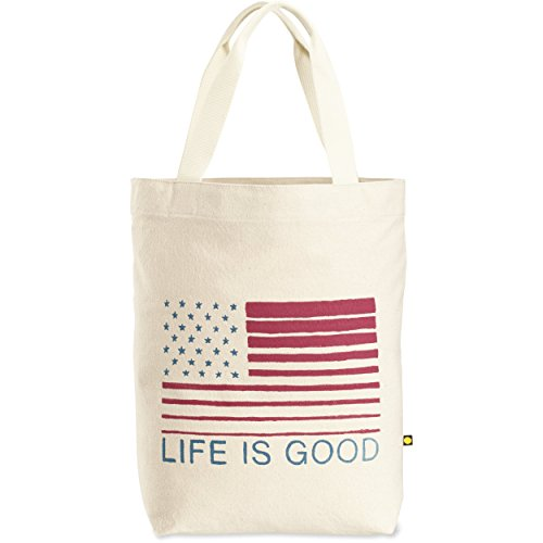 Life is Good Messaging Tote Bag, Flag Stripes, One ()