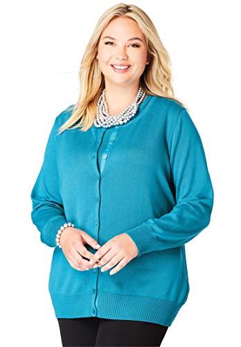 Jessica London Women's Plus Size Fine Gauge Cardigan - Sea Blue, 26/28
