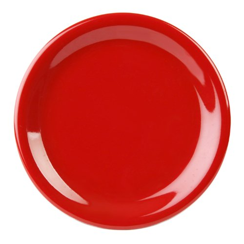 Green Narrow Rim Plate (Excellanté Crimson Melamine Collection 10-1/2-Inch Narrow Rim Round Plate, Pure Red, 12-Piece)