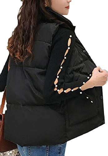 security Women's Jacket Zip up Stand Collar Lightweight Warm Quilted Vest Black