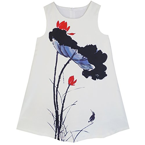 Price comparison product image KC85 Big Girls Dress Lotus Ink-wash Painting Party Princess Dress Size 14