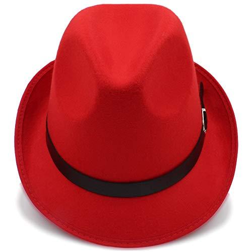 hats tamaño 56 de Invierno Color de Sun Ocasionales Café Sol de para de Sombreros Estilo Trilby de Casual Hombres 58CM Fedora Rojo otoño Sombreros británico Sombreros dwFOBgq