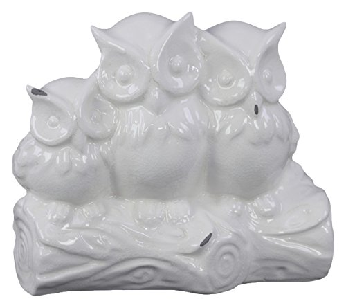 Benzara Owl Figurines on a Tree Branch Base Gloss Finish White Statue
