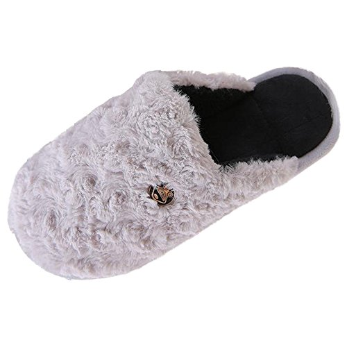 Eastlion Winter Home Warm Slippers Couple Non-slip Thick Roses Pattern Plush Slippers Male Grey
