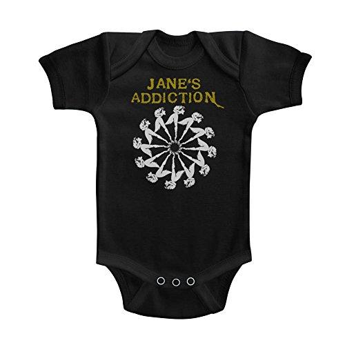 A&E Designs Janes Addiction Infant Bodysuit Ladywheel Black Romper, 12M
