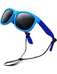 Rubber Kids Polarized Sunglasses With Strap Glasses Shades for Boys Girls Baby and Children Age 3-10 RBK023