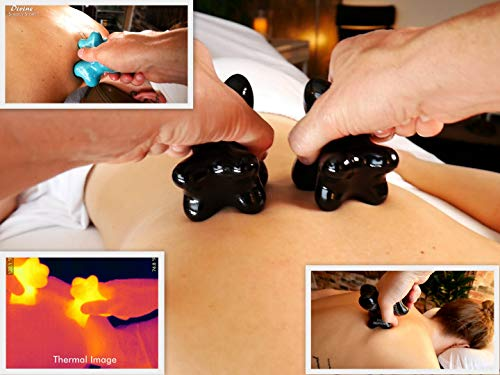 Divine (Original Black)(Single) Synergy Stone - Pro Hot Stone Massage Tool - Focused Relief for Neck, Arms, Hands, Back, Legs and Feet - Relaxing and Therapeutic - Free YouTube Training Videos