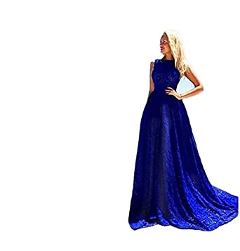 O Neck Long Train Evening Dresses Elegant Lace Formal Prom Dress Blue 2