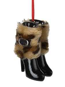 """3"""" Fashion Avenue Cheetah Print Faux Fur Cuff High Heel Boot Christmas Ornament"""