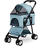 Paws & Pals Dog Stroller Easy Walk Folding Travel Carriage for Pets & Cats with Detachable Carrier - Blue
